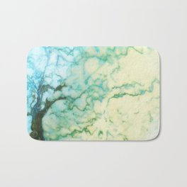 Abstract modern teal brown marble tree pattern Bath Mat
