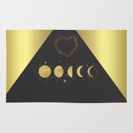 Faux Gold Moon Phases Gold Heart Rug