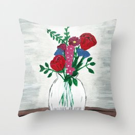 Table Flowers Throw Pillow