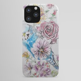 Blue Budgie and Rose Watercolor iPhone Case