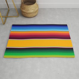 Traditional Mexican Serape in Yellow Multi Rug