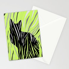 Black Cat on Grass Stationery Cards