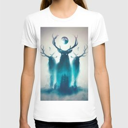 Deer Painting | Antlers | Forest | Moon | Occult | Vintage | Pine Trees T-shirt