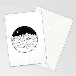 Mountains and the Moon Stationery Cards