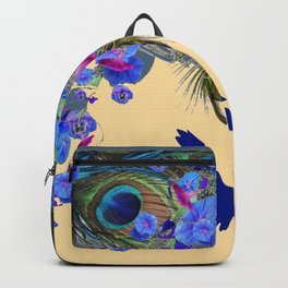 BLUE MORNING GLORIES & FLYING BLUE BIRD ART Backpack