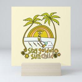 stay golden sun child surf dude //retro surf art by surfy birdy Mini Art Print