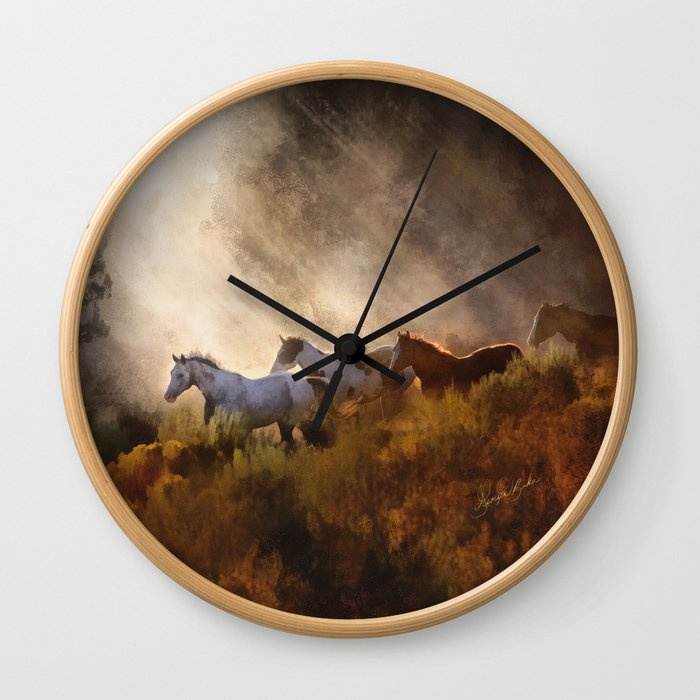 Horses in a Golden Meadow by Georgia M Baker Wall Clock