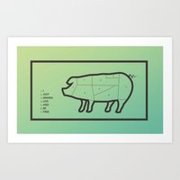 pig Art Prints featuring Pig by Flequillo