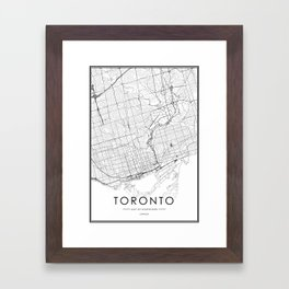 Toronto City Map Canada White and Black Gerahmter Kunstdruck