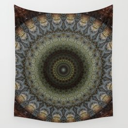 Detailed mandala in green and blue tones Wall Tapestry