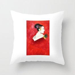 Red Wall Geisha Throw Pillow