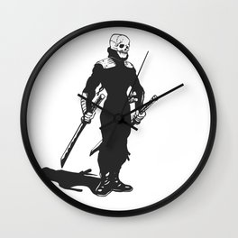 Ninja  skeleton  illustration Wall Clock