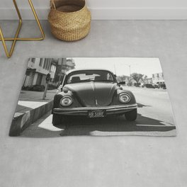 Hermosa Beach Surf Bug, Black and White Photography Print, Beach Art, South Bay Los Angeles Art Rug