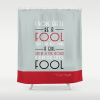 great gatsby Shower Curtains featuring Great Gatsby -  Beautiful little fool  by Dickens ink.