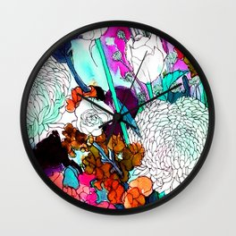 forest flowers 3 Wall Clock