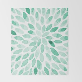 Watercolor brush strokes - aqua Throw Blanket