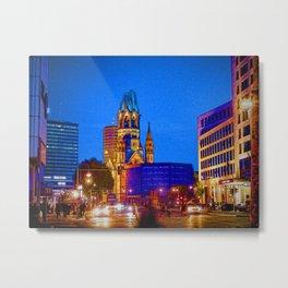 Berlin nightlife - Kaiser Wilhelm Memorial Church Metal Print