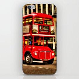 Trafalgar Square London Double Decker Bus iPhone Skin