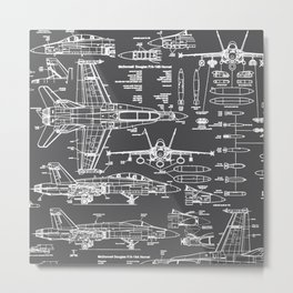 F-18 Blueprints // Charcoal-Grey Metal Print