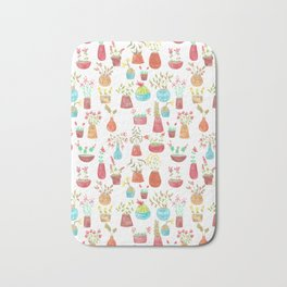 watercolor potted flowers and cacti Bath Mat
