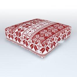 Red Winter Fair Isle Pattern Outdoor Floor Cushion