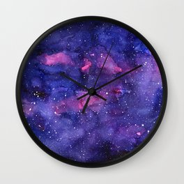 Galaxy Pattern Watercolor Nebula Texture Wall Clock