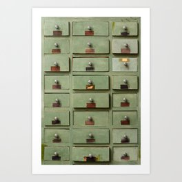 Old wooden cabinet with drawers Art Print