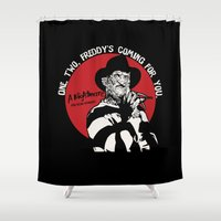freddy krueger Shower Curtains featuring Freddy K quote v2 by Buby87
