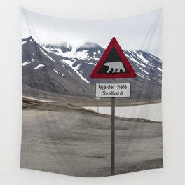 Polar bears traffic sign in Svalbard Wall Tapestry
