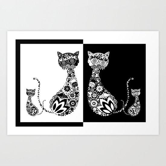 Cats Of Inversion - Digital Work Art Print