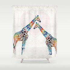 Colorful Giraffe Art - I've Got Your Back - By Sharon Cummings Shower Curtain