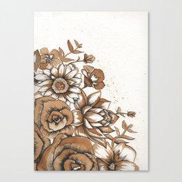 Coffee Art- Flowers Canvas Print