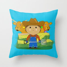 Rancher Dude With Cattle (Kawaii Style) Throw Pillow