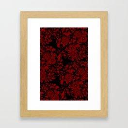 Chrysanthemums Red on Black Framed Art Print