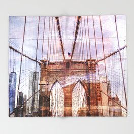 Brooklyn Bridge Art Throw Blanket
