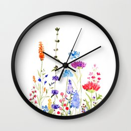 colorful wild flowers watercolor painting Wall Clock