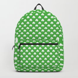 White Heart-Shaped Clover on Green St. Patrick's Day Backpack