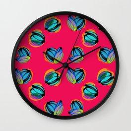 Las Flores rojas Wall Clock