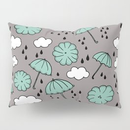 Blue umbrella sky rainy day abstract fall illustration pattern blue Pillow Sham