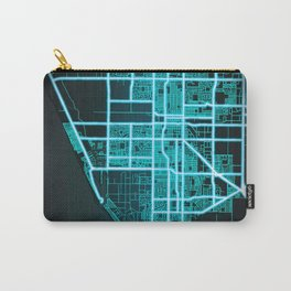 Oxnard, CA, USA, Blue, White, Neon, Glow, City, Map Carry-All Pouch