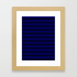 Navy Blue and Black Horizontal Var Size Stripes Framed Art Print