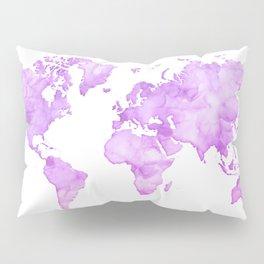 Lavander watercolor world map Pillow Sham