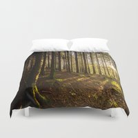 norway Duvet Covers featuring A Forest Sunset in Norway by MegaCork Photography