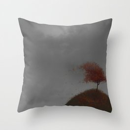 Standing Strong in a Fall Wind Throw Pillow