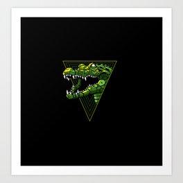 Cyber Crocodile Punk Art Print