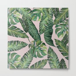 Jungle Leaves, Banana, Monstera Pink #society6 Metal Print