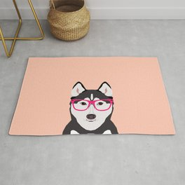 Kamri - Siberian Husky with Pink Hipster Glasses, Cute Retro Dog, Dog, Husky with Glasses, Funny Dog Rug
