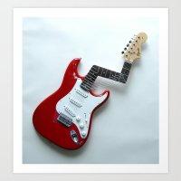Jimi's Nightmare Distorted Guitar Sculpture Photograph Art Print