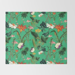 Vintage wild flowers green Throw Blanket