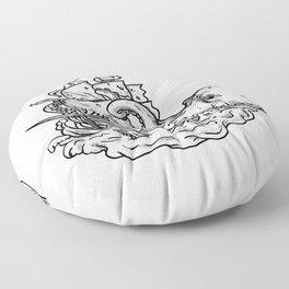 Kraken Attacking Ship Tattoo Grayscale Floor Pillow